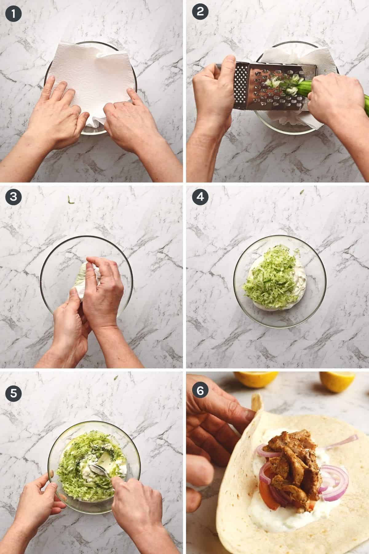 step by step instructions on how to make tzatziki