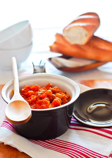 chickpea and chorizo stew served with bread