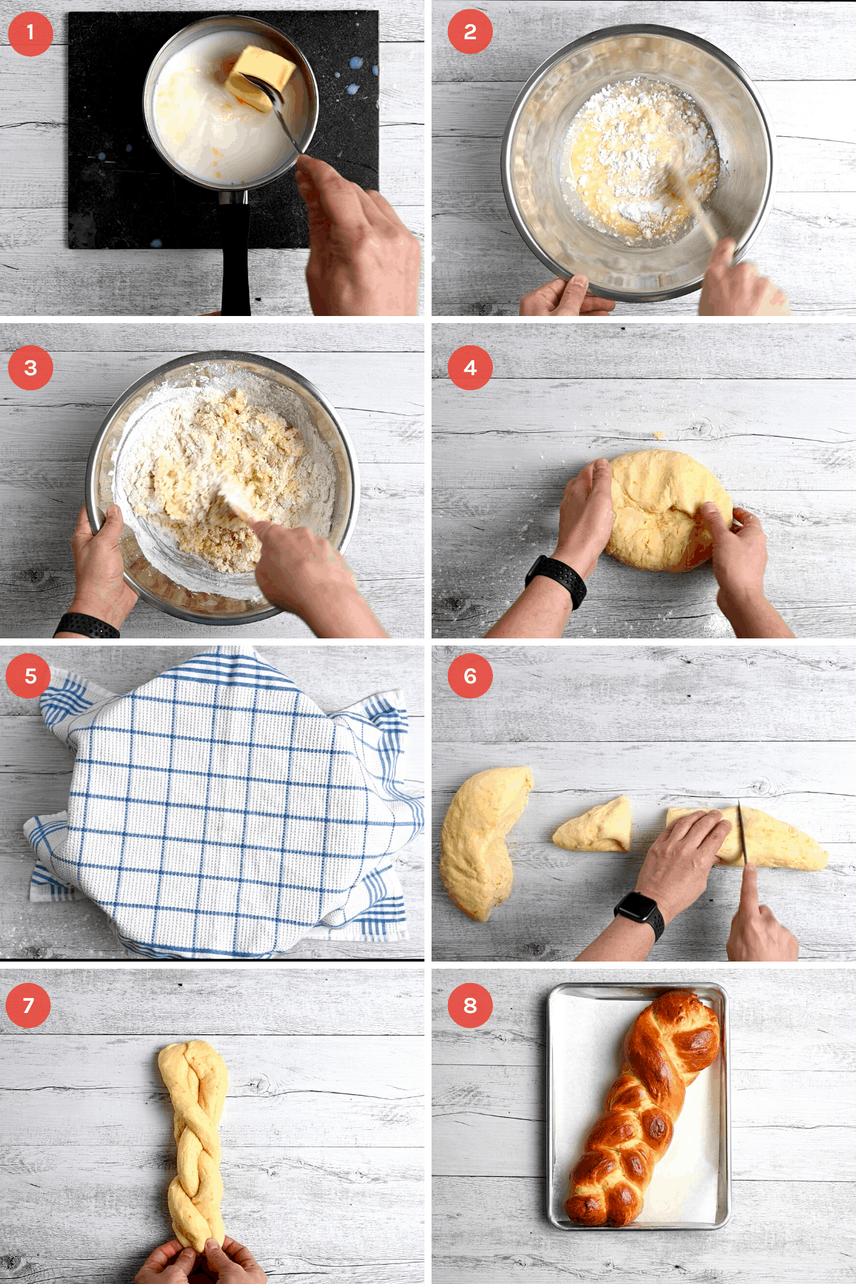 step by step instructions on how to make Greek Easter bread
