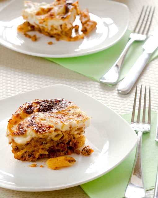 baked pasta with bolognaise and bechamel sauce