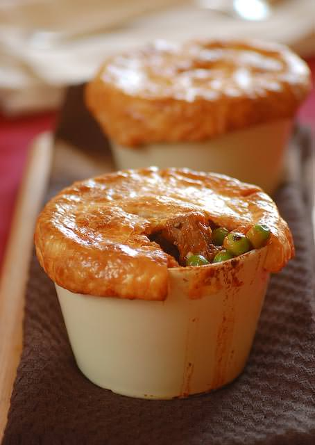 lamb pot pies with mint and peas