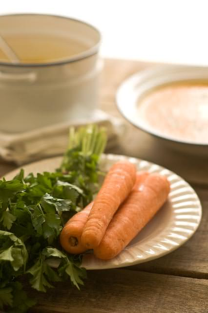 Carrot soup with carrots and parsley