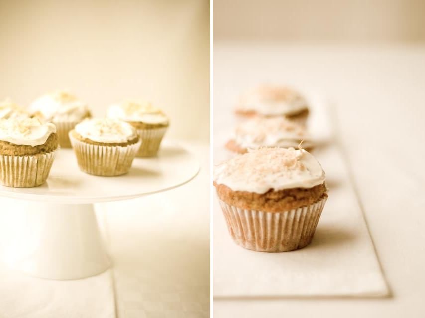 banana muffins with a Greek yogurt topping and toasted coconut