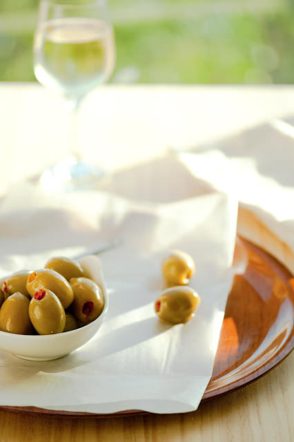 green olives and white wine