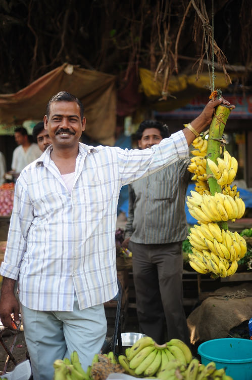banana seller at Indian market
