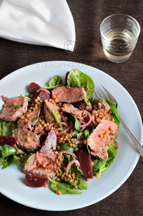 warm lamb salad with beetroot and lentils