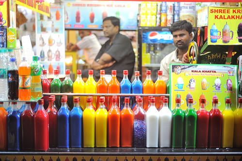 colourful drinks at Juhu Beach Mumbai