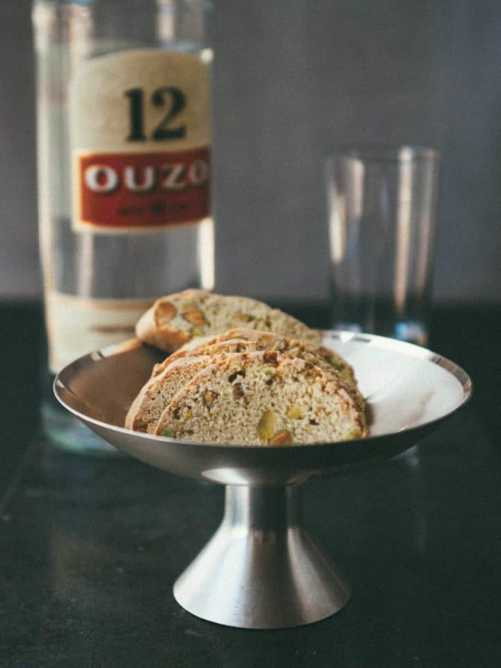 ouzo biscuits served on a platter