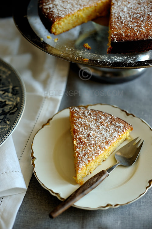 slice of orange and almond cake