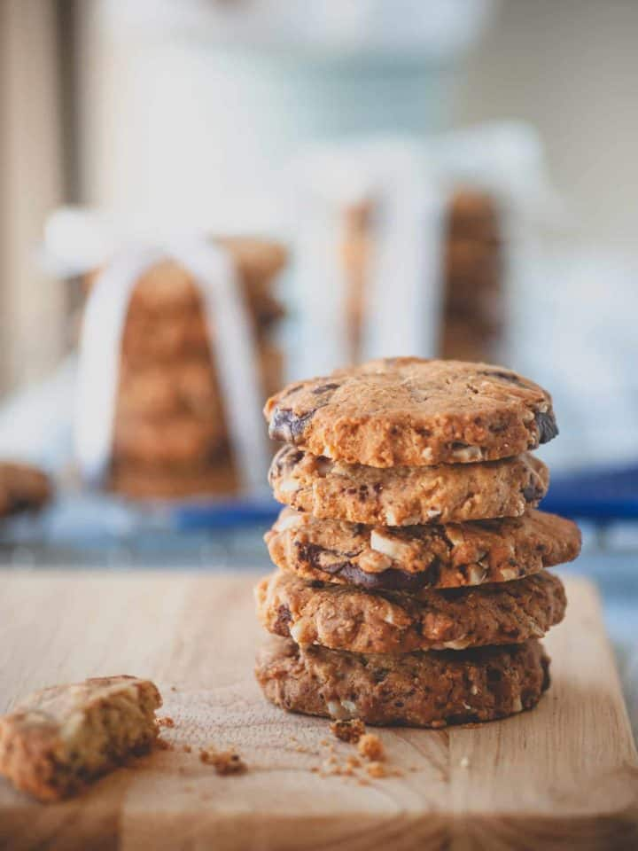 a stack of chocolate and almond cookies
