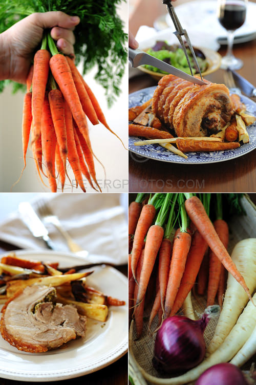 roast pork with carrots and parsnips