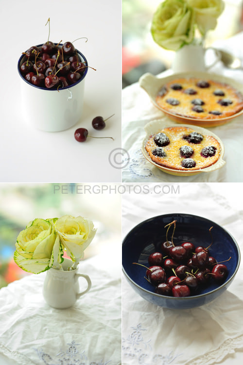 cherries and clafoutis with flowers