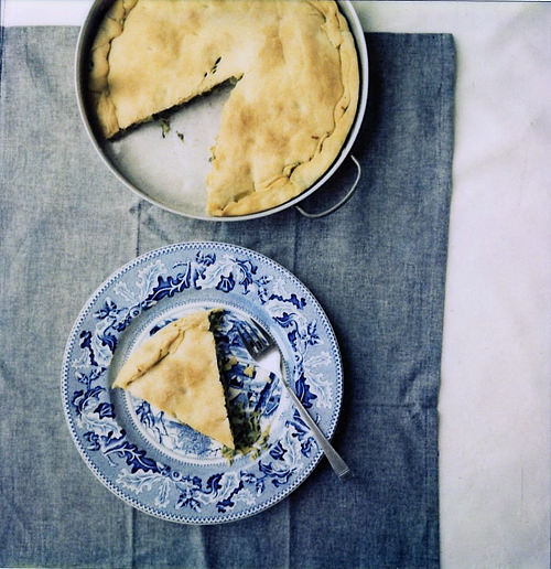 a piece of kohlrabi and greens pie