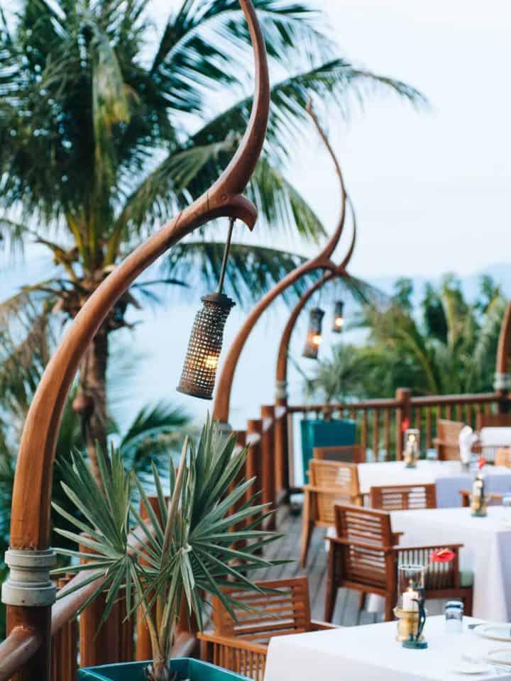 outdoor dining area at Four Seasons resort Koh Samui