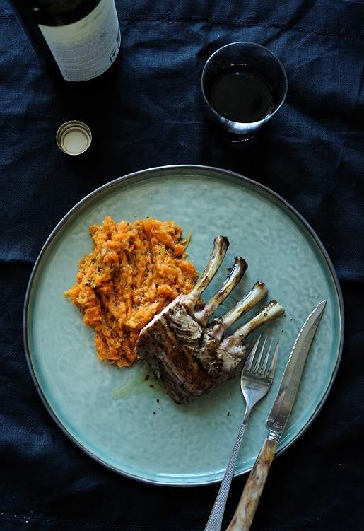 carrot and dill mash with a rack of lamb