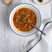 a bowl of Greek lentil soup