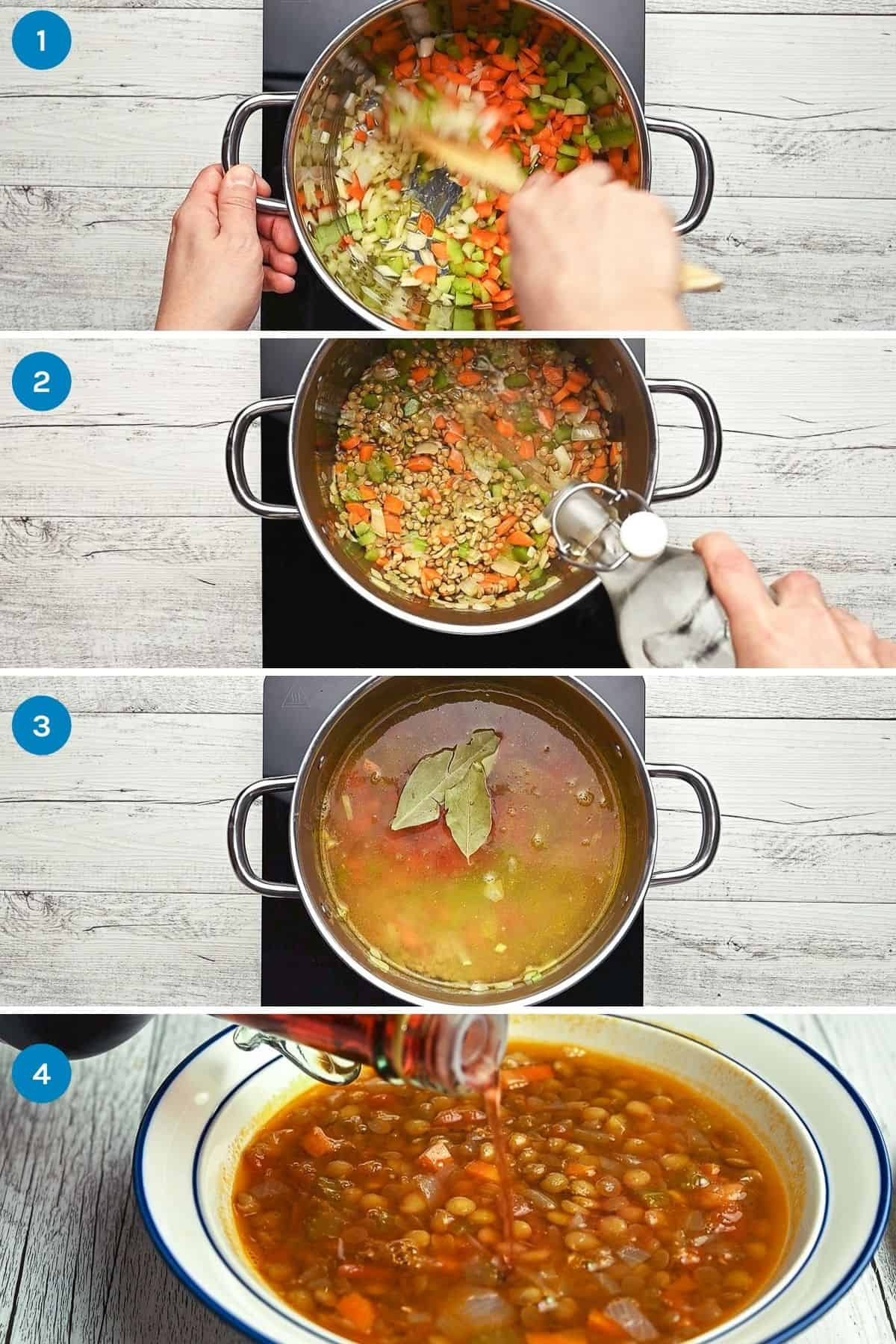 step by step instructions of how tio make Greek lentil soup