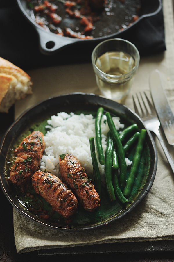 greek meatball sausages with rice