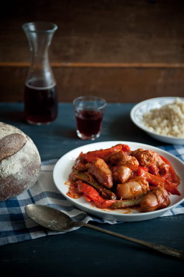 sausages and peppers stew