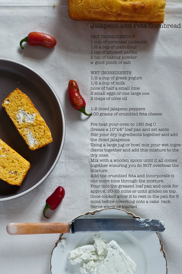 Jalapeno and feta cornbread recipe