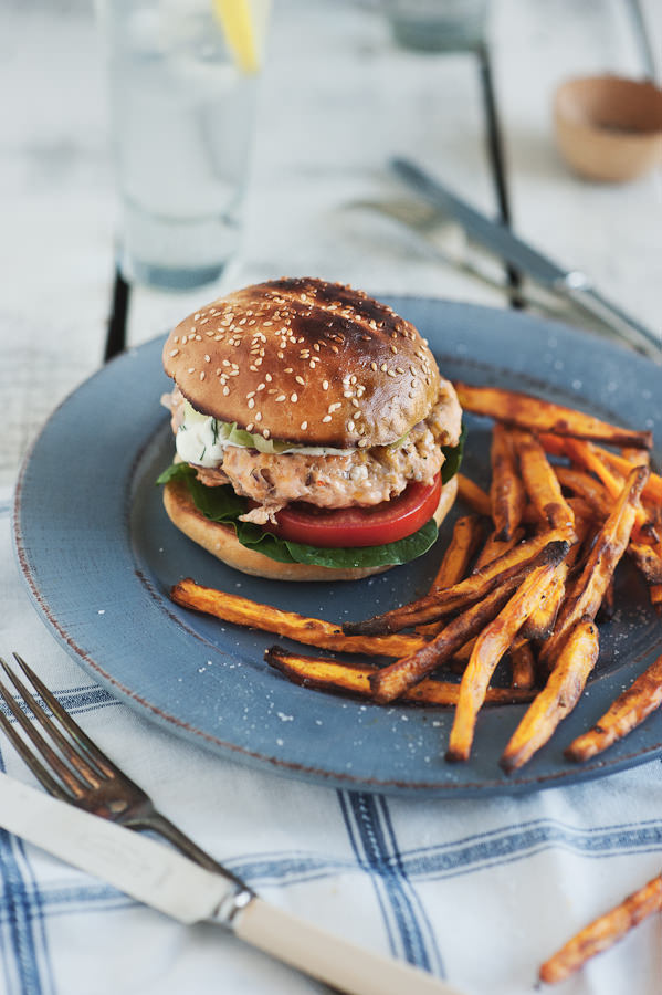 salmon burgers with sweet potato fries