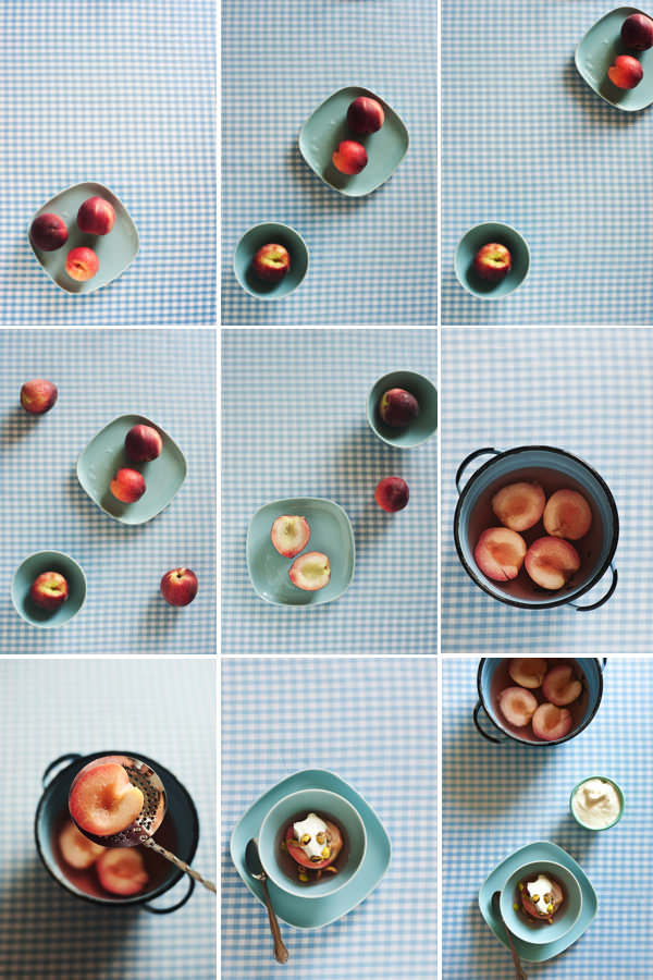 collage of summer peaches