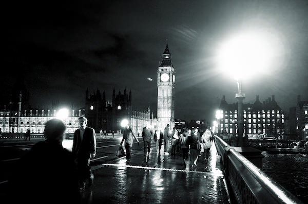 Westminster Bridge at night with Big Ben