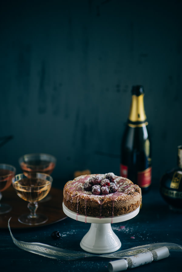 cake made with Chambord and cherries