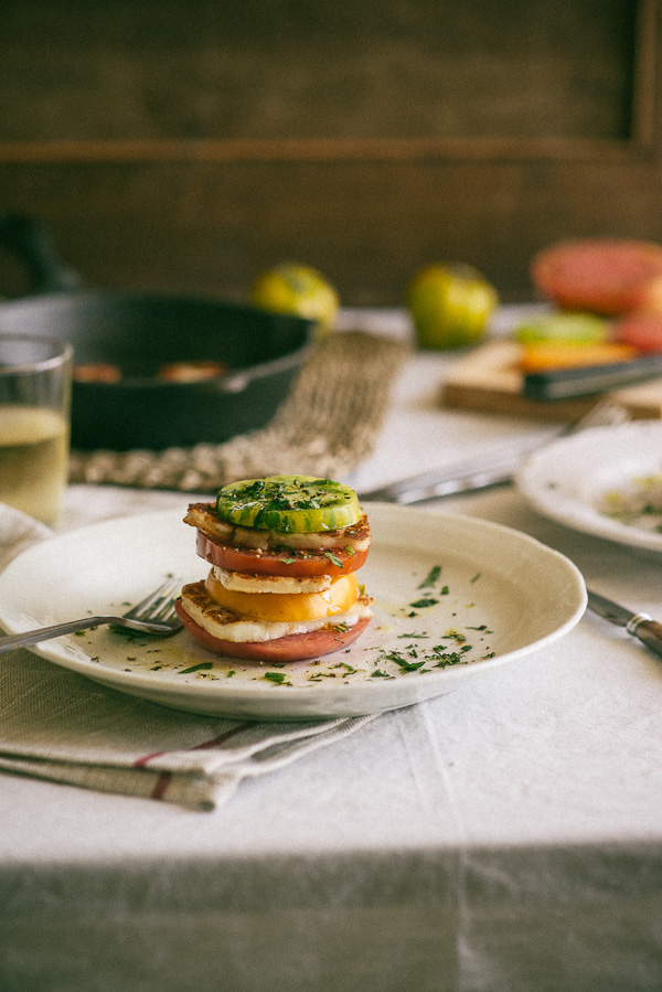 heirloom tomatoes and haloumi cheese