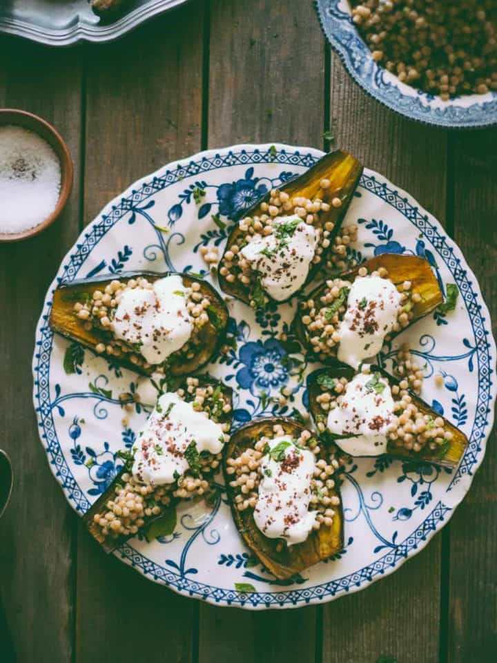 Israeli cous cous with eggplant