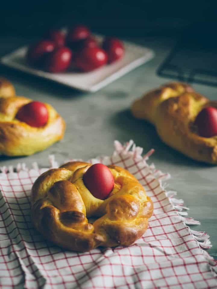 Pumpkin and Cardamom Tsoureki with dyed red eggs