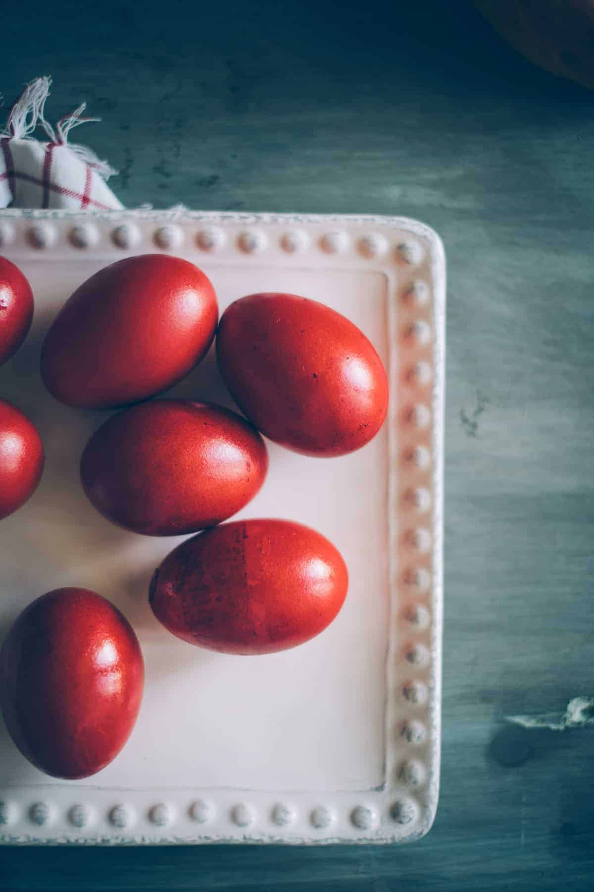 Greek Easter eggs dyed red