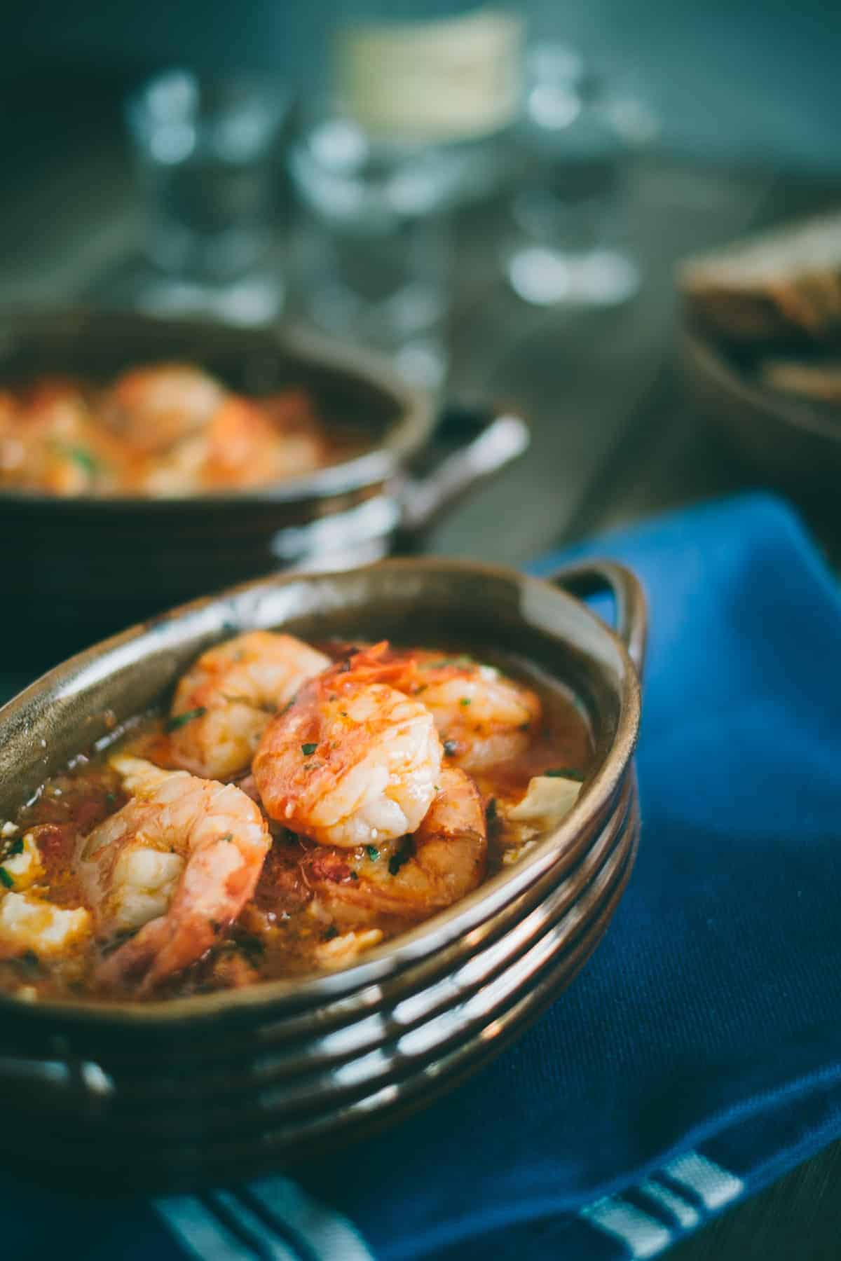 Prawn saganaki served in a claypot dish