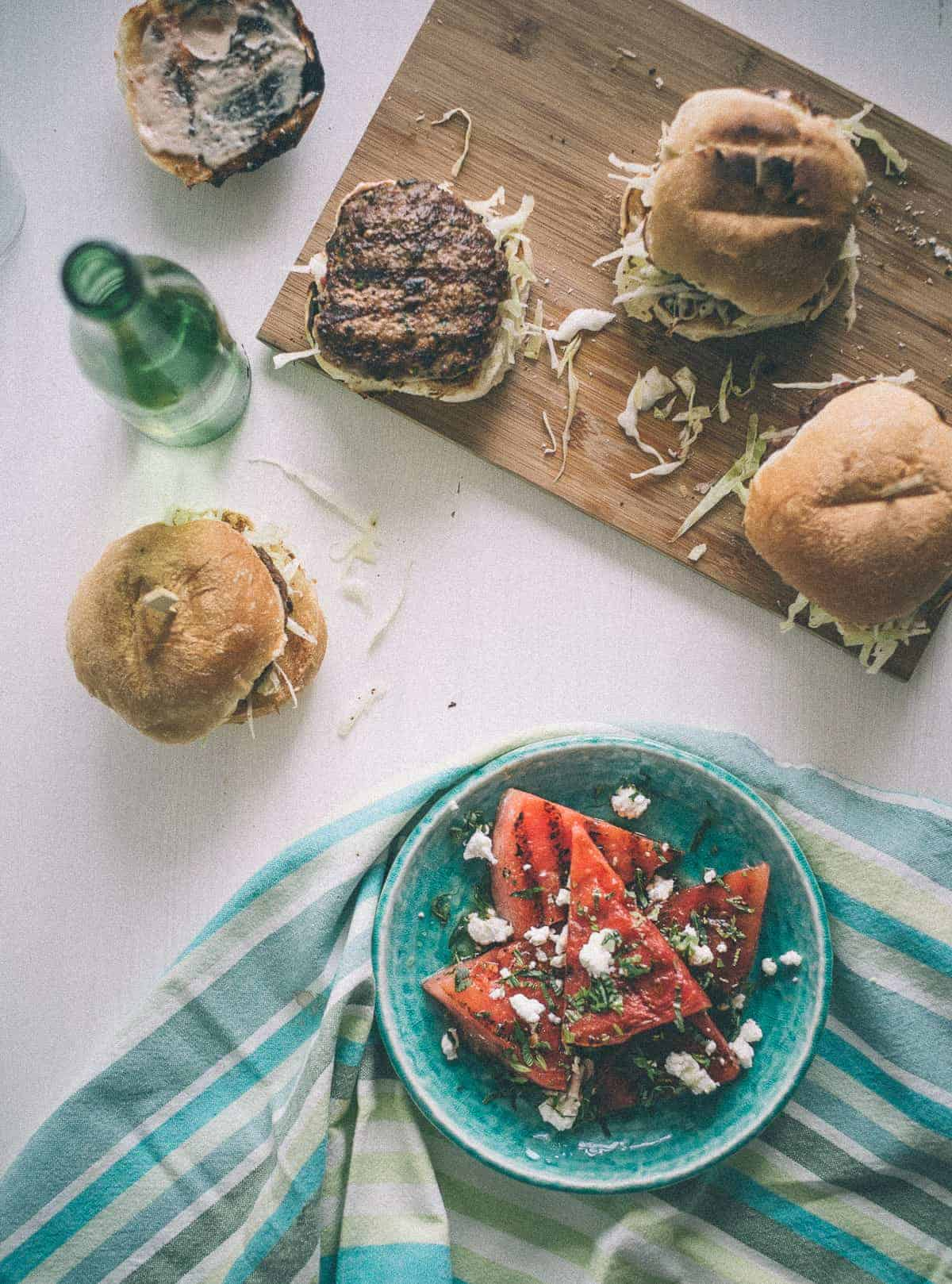 home made lamb burgers with a chargrilled watermelon salad