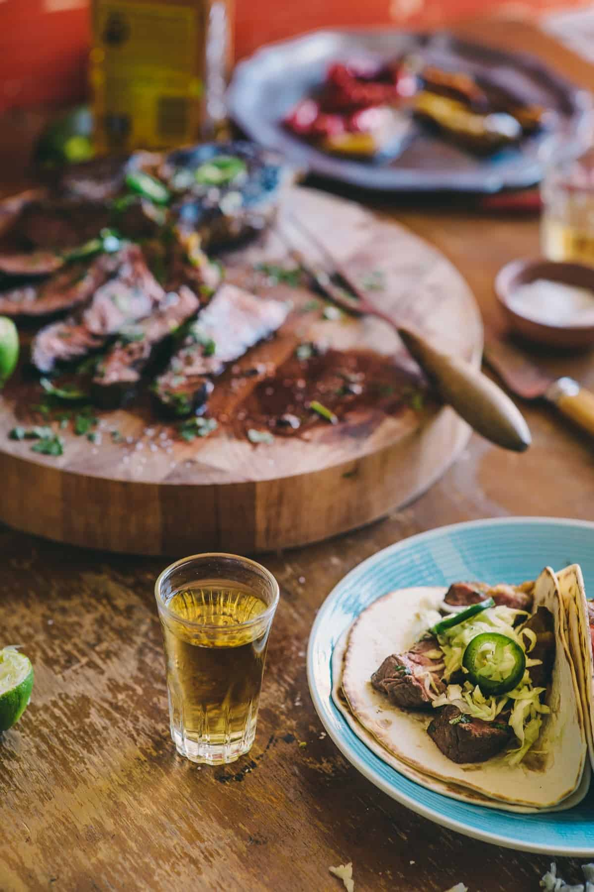 Tequila marinated beef tacos