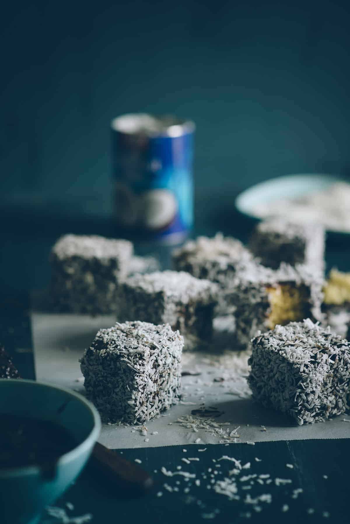 preparing gluten free lamingtons