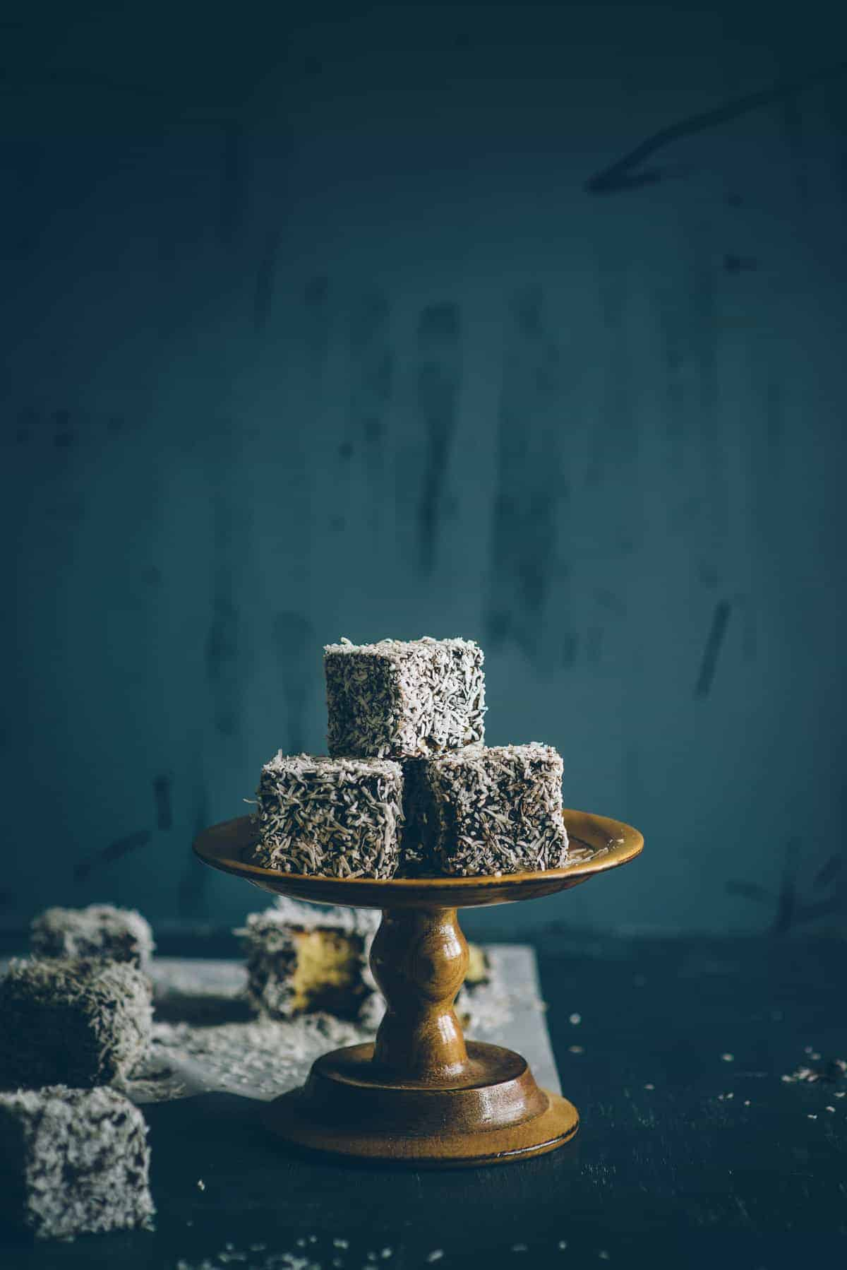 gluten free lamingtons on cake stand
