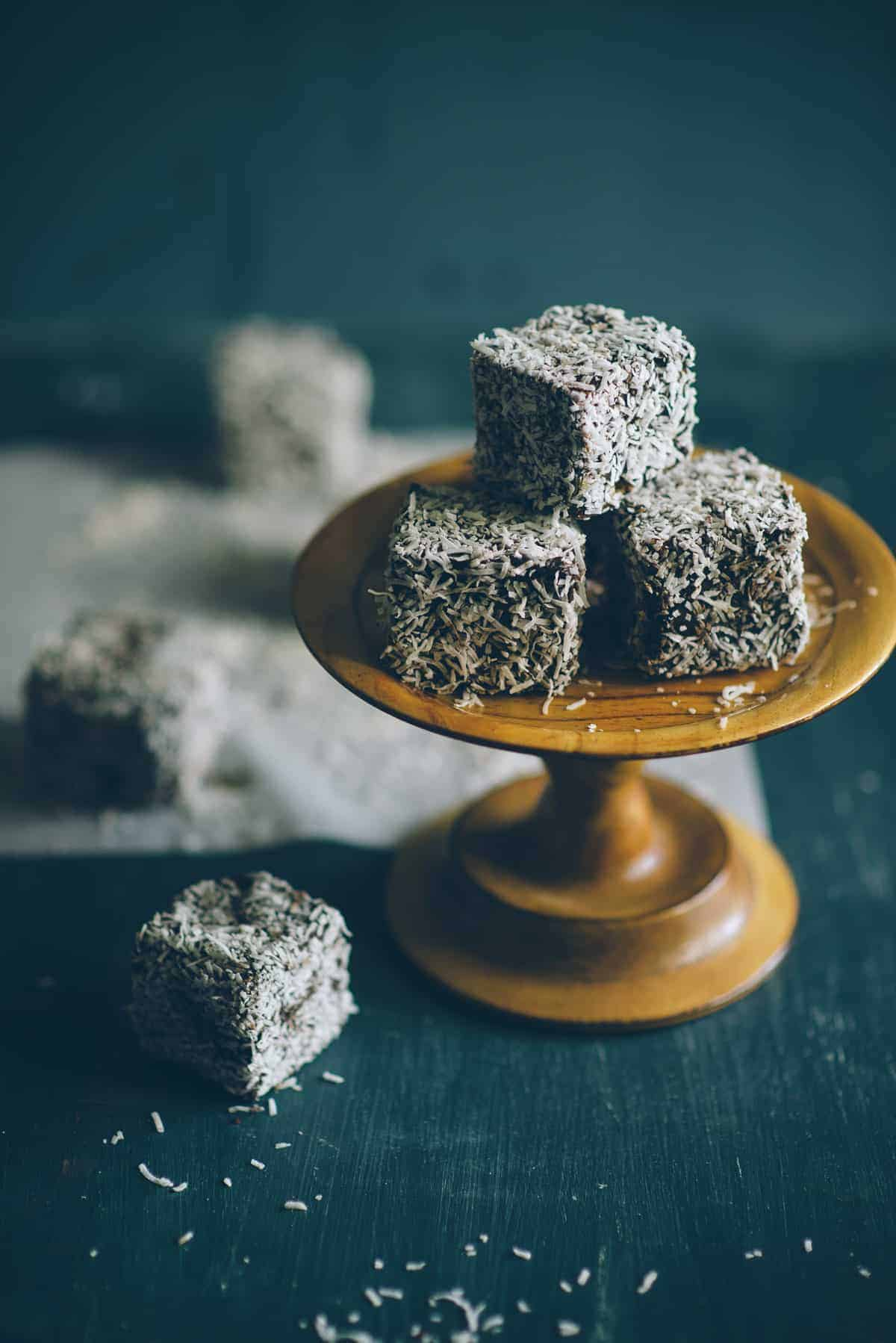 close up of gluten free lamingtons