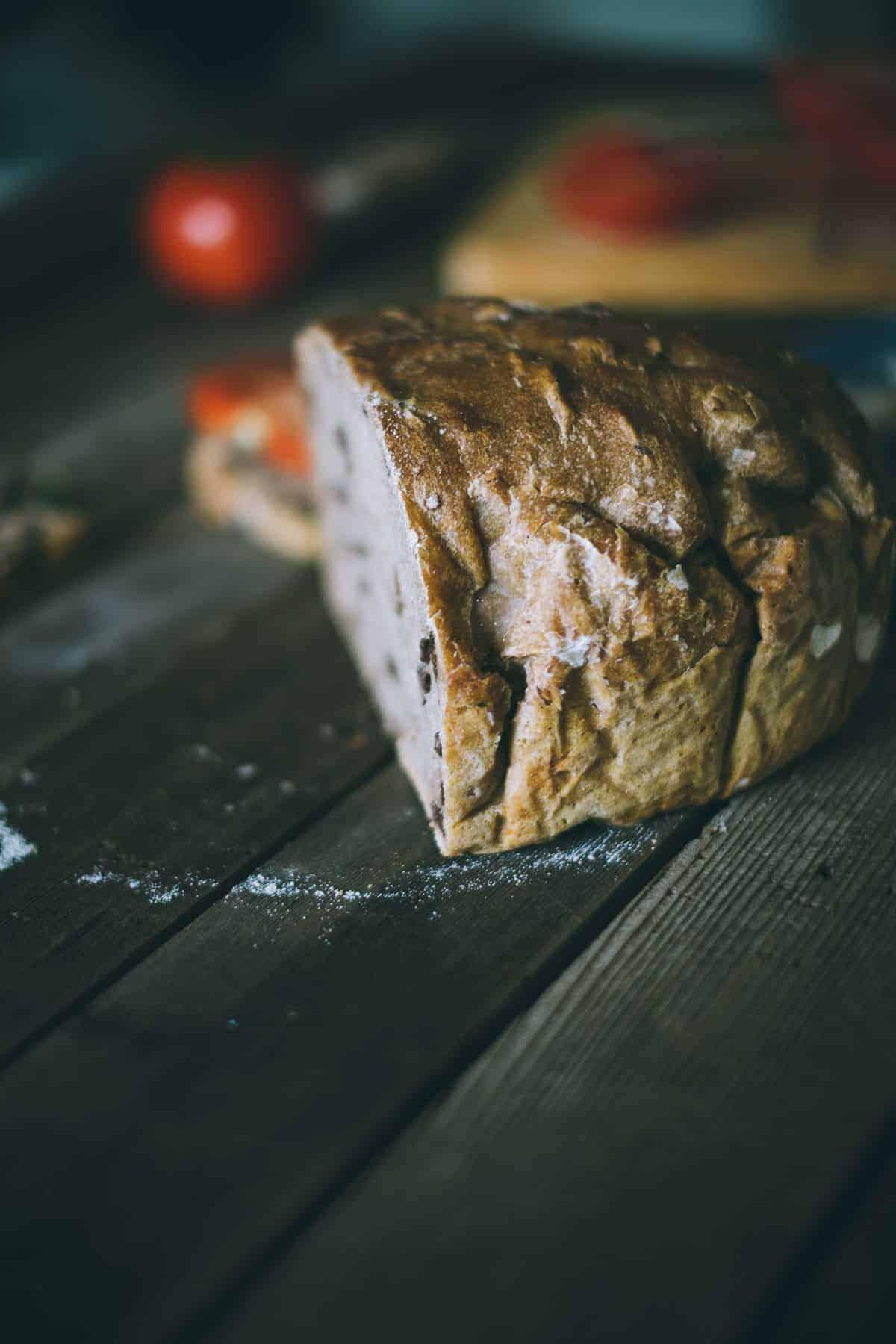 No Knead Kalamata Olive Spelt Bread - Souvlaki For The Soul