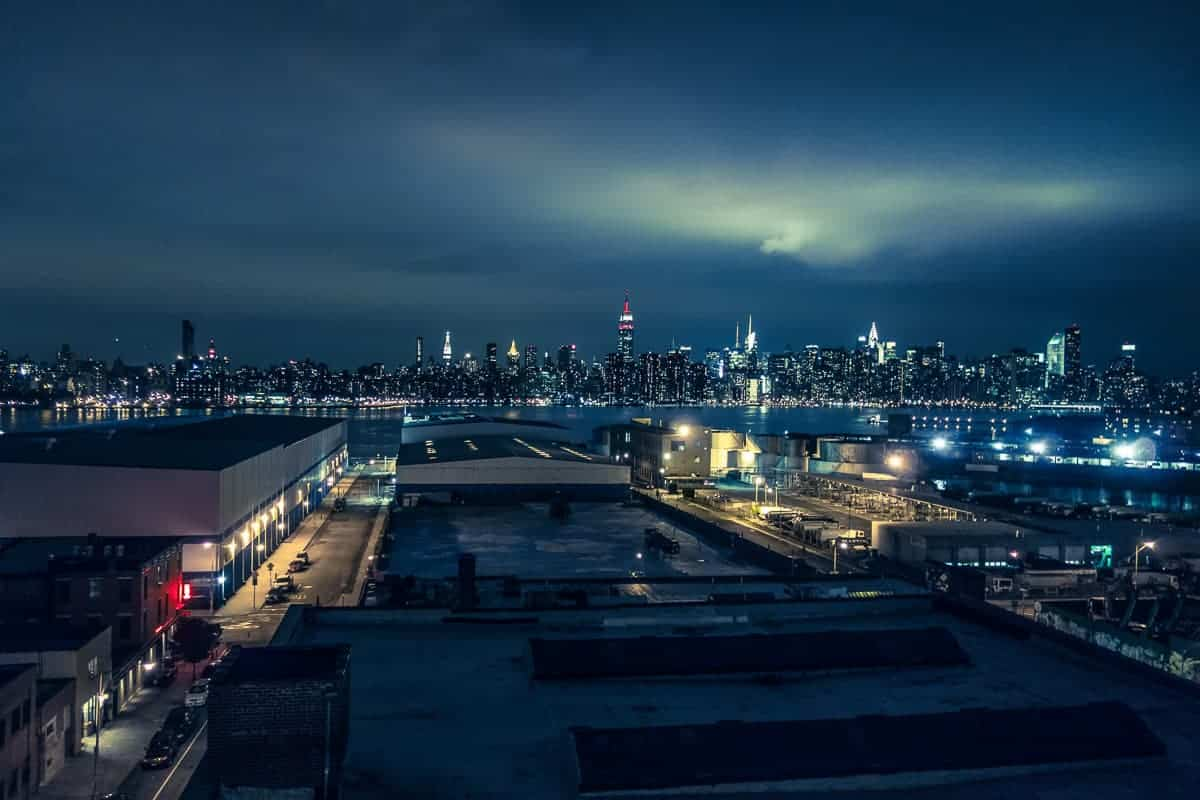 Manhattan view from Wythe Hotel rooftop bar