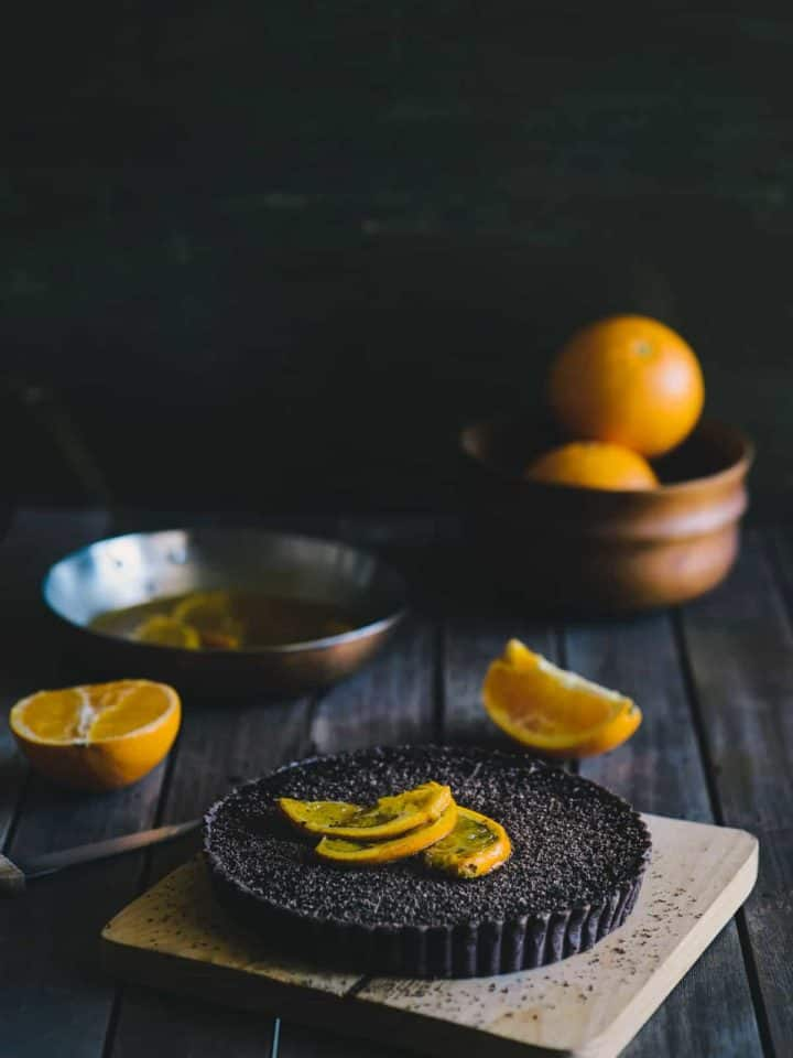 a chocolate and orange tart