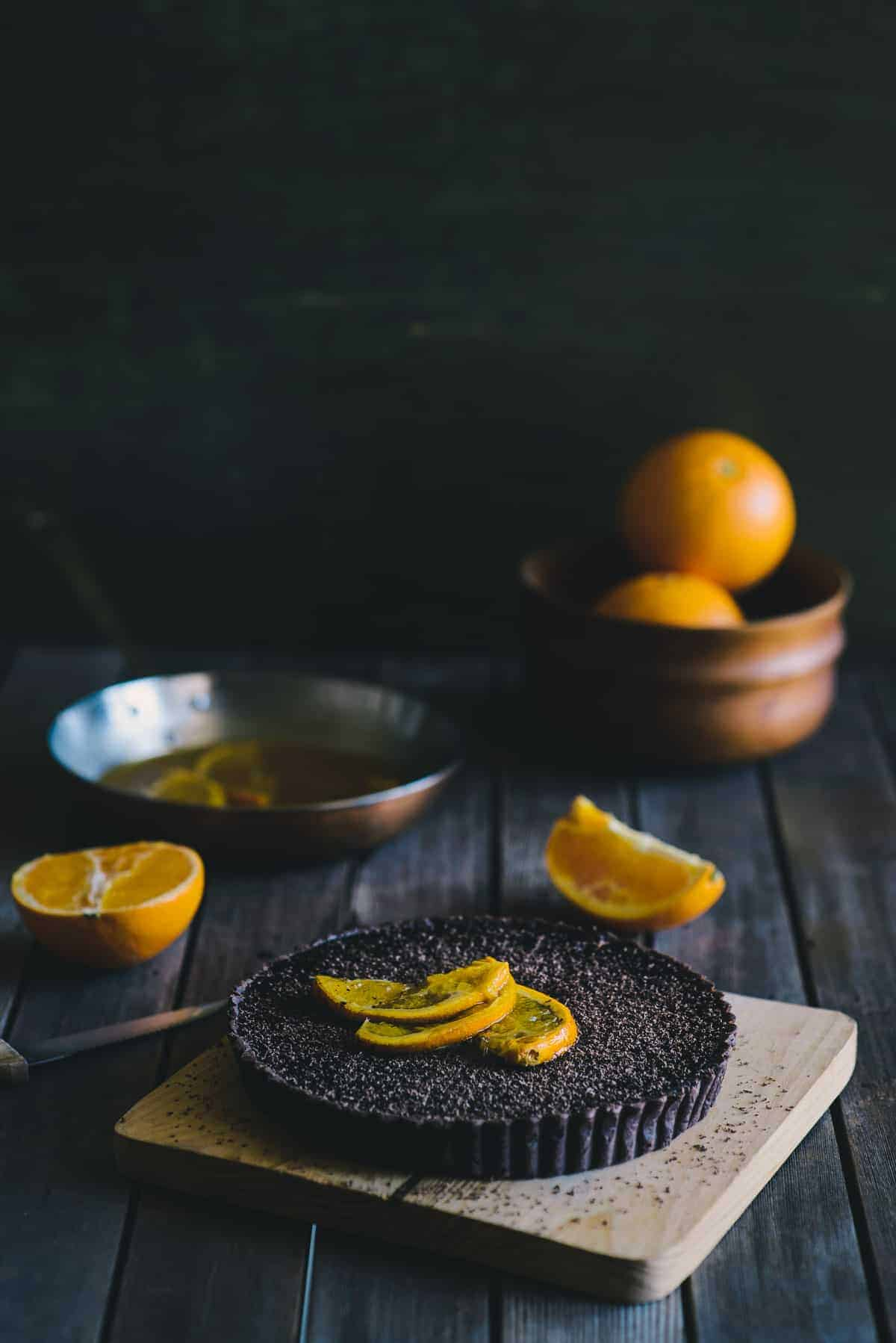 choc-orange jaffa tart