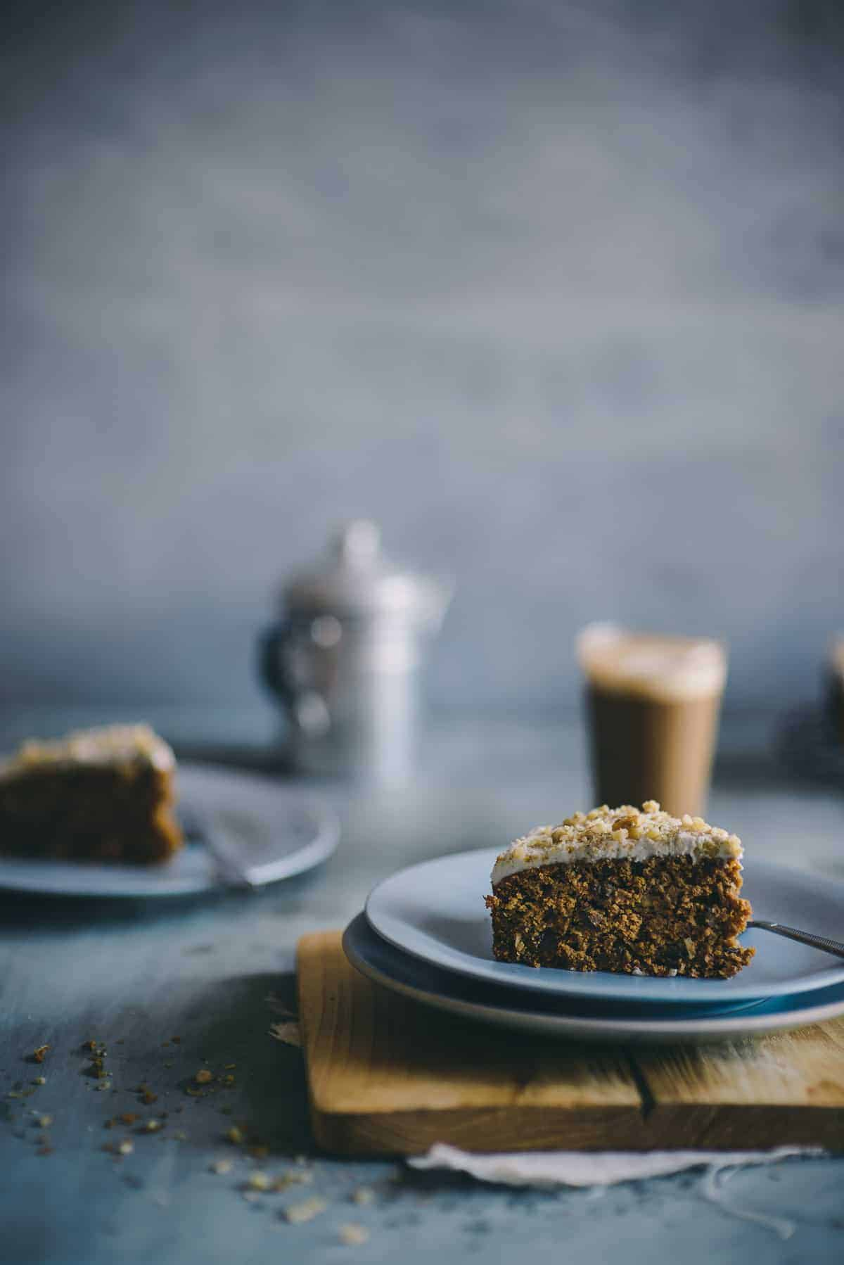 a slice of carrot cake made with spelt flour