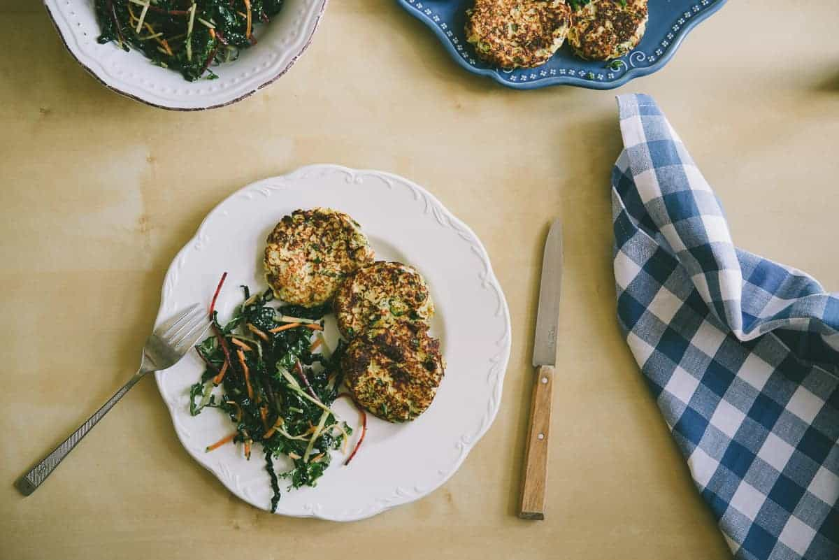 cauliflower and feta fritters with a kale salad