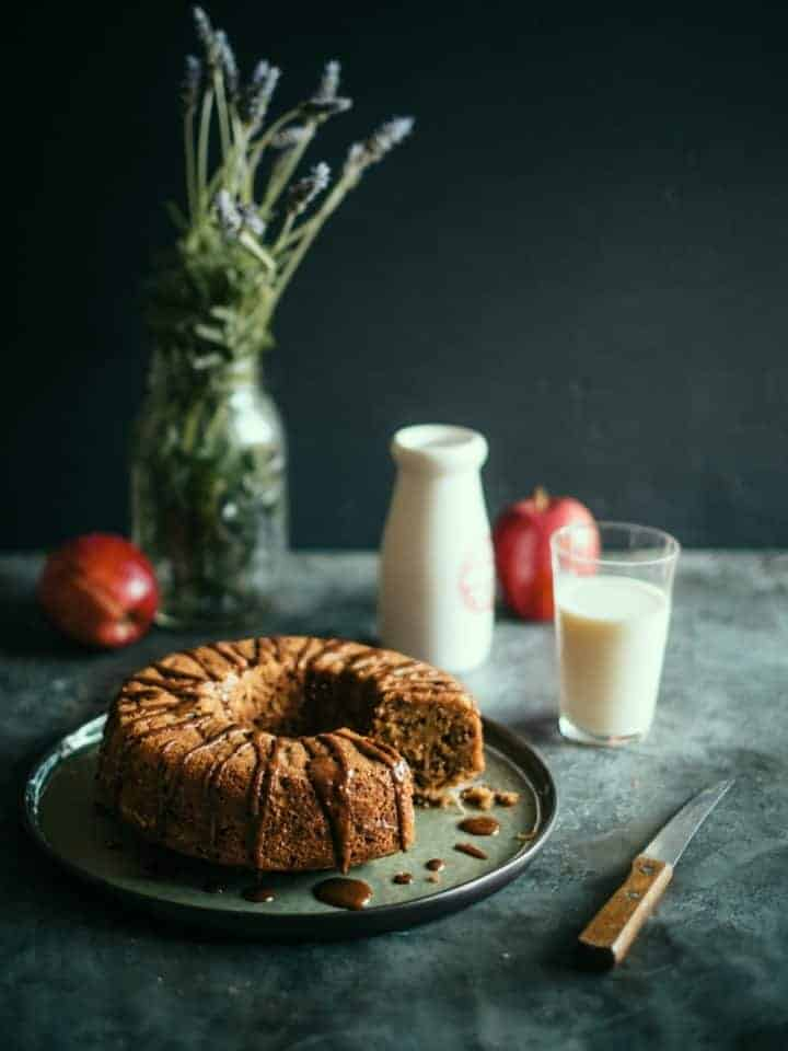 spelt apple teacake with a cinnamon glaze