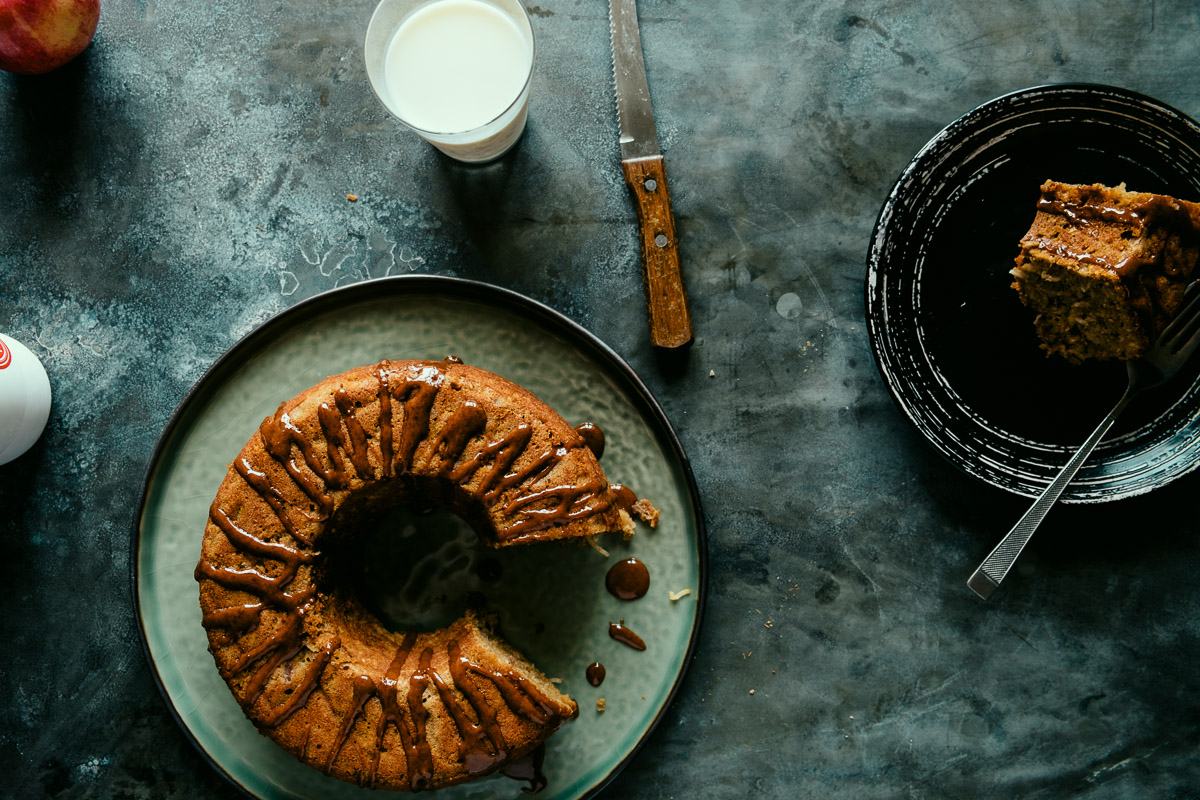 apple teacake with a cinnamon glaze