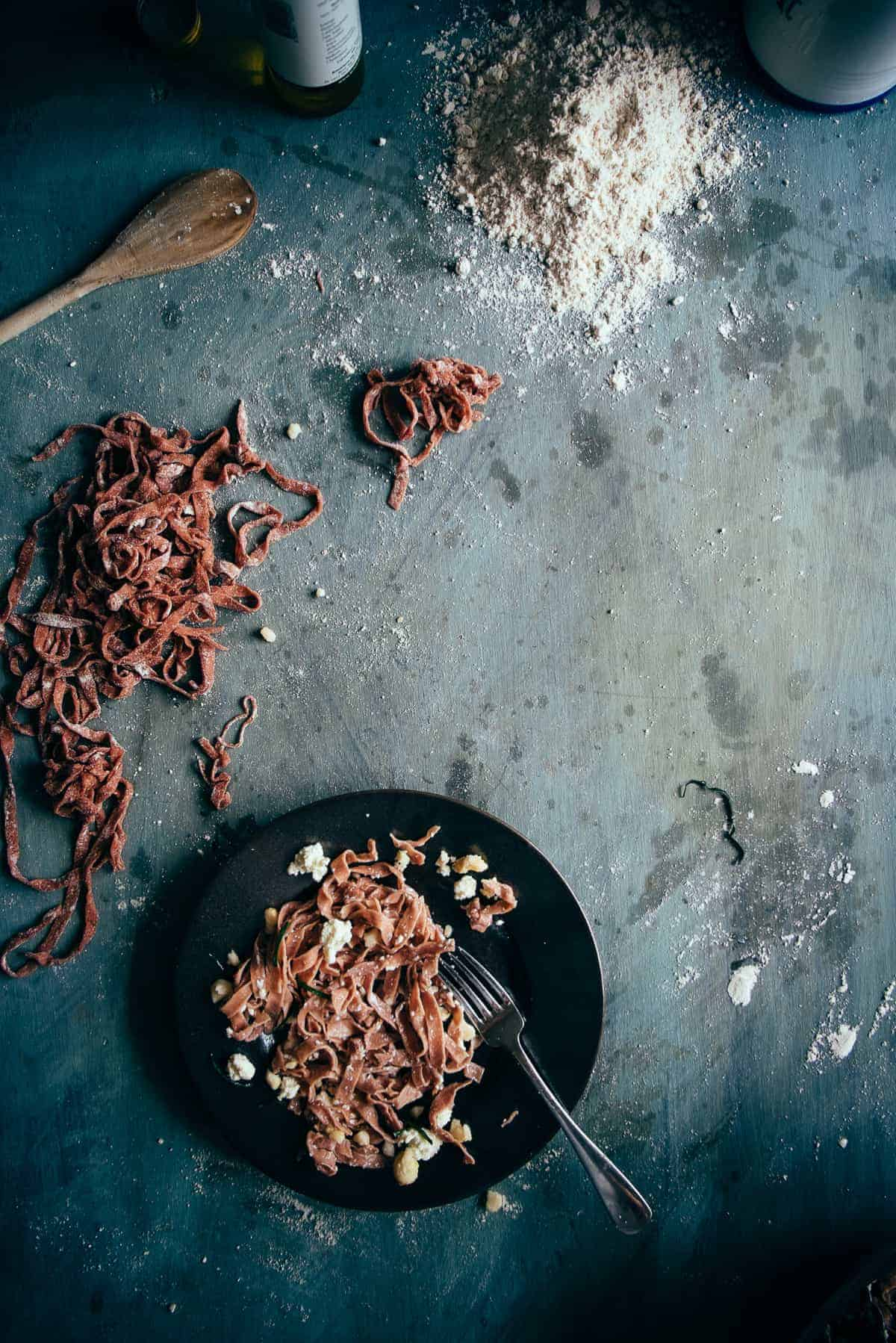 beetroot pasta made with spelt flour