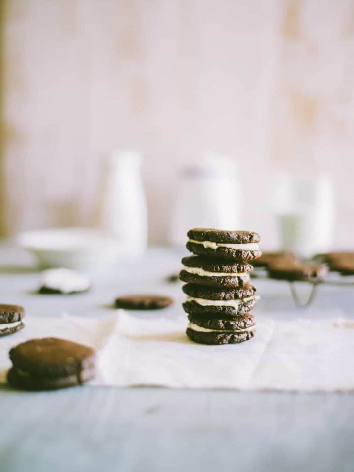 homemade Oreo cookies stacked on top of each other