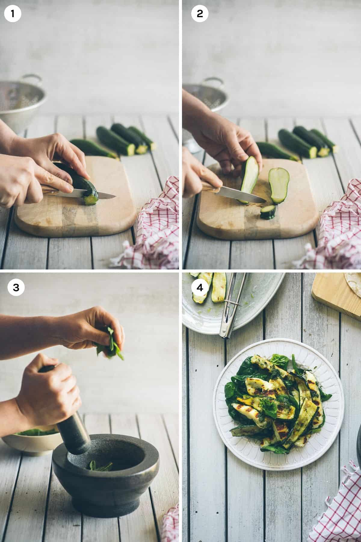 step by step instructions on how to make halloumi salad