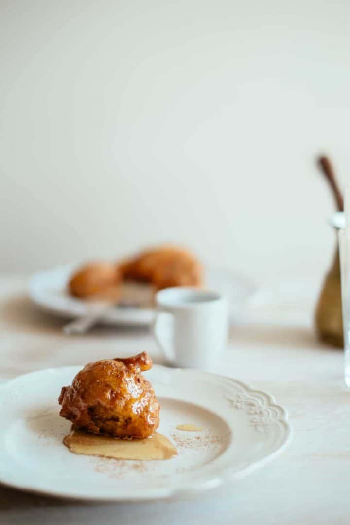 a Greek sweet potato doughnut on a plate